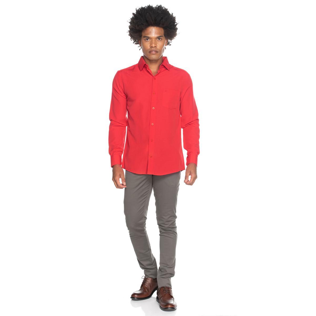 Camisa Social Teodoro Masculina Manga Longa Slim Fit Casual Vermelho G