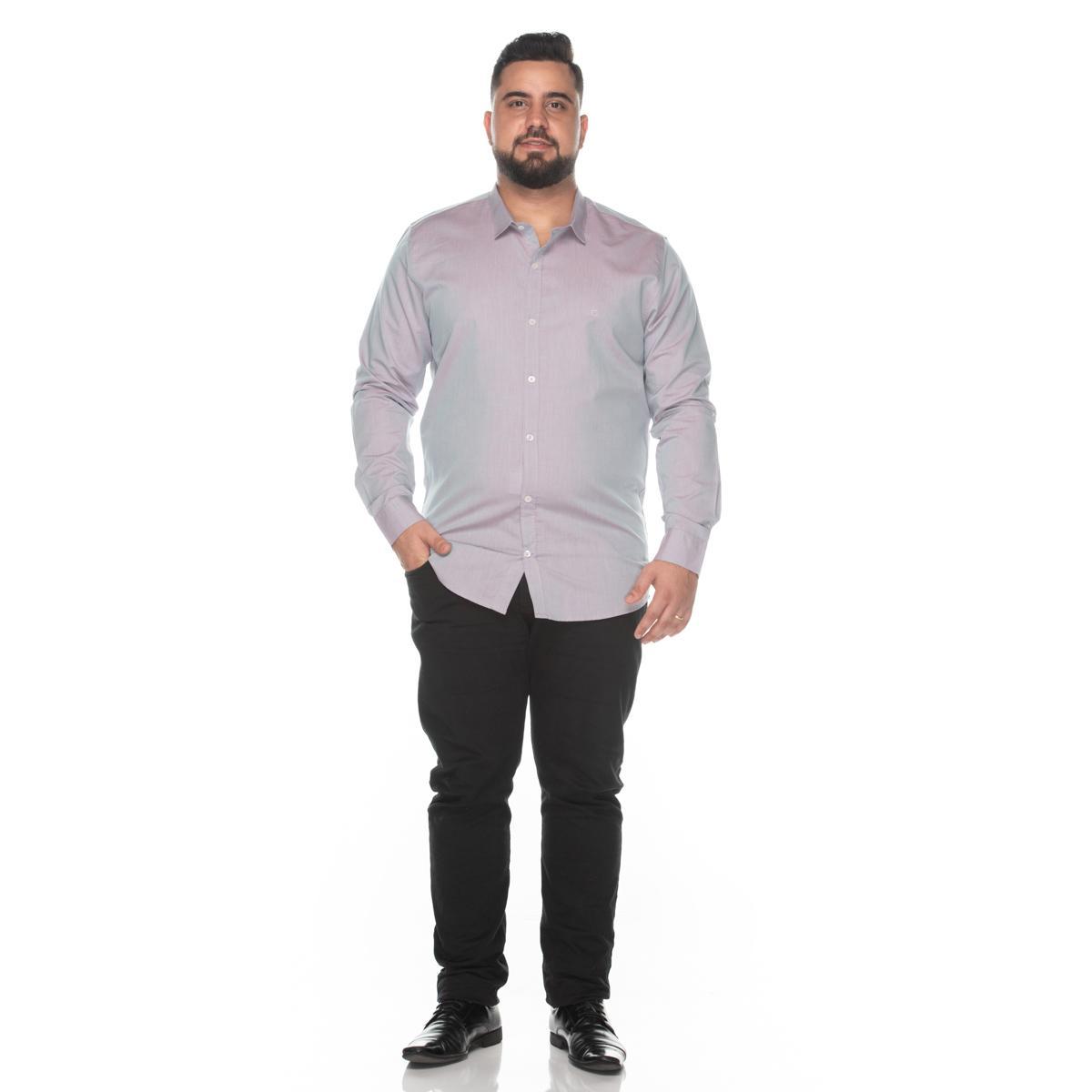 Camisa Social Teodoro Masculina Ml Plus Size Algodão Casual Branco G3