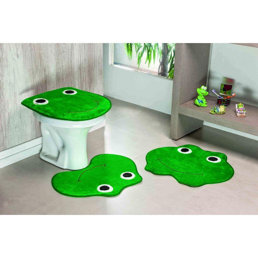 Jogo De Tapete De Banheiro Infantil 3 Peças Verde Bandeira