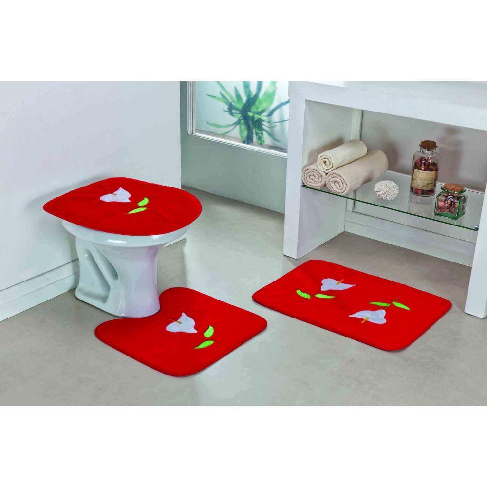 Jogo De Tapete De Banheiro Bordado 3 Peças Vermelho