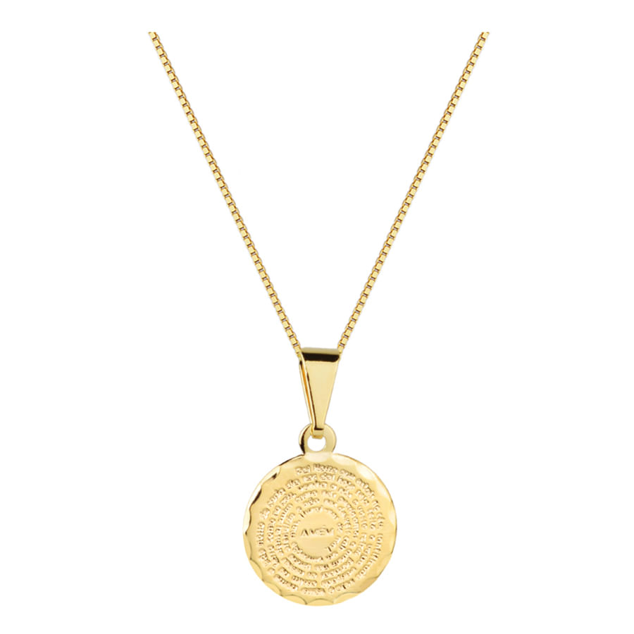Colar Corrente Pingente Mini Medalha Pai Nosso Folheado Ouro