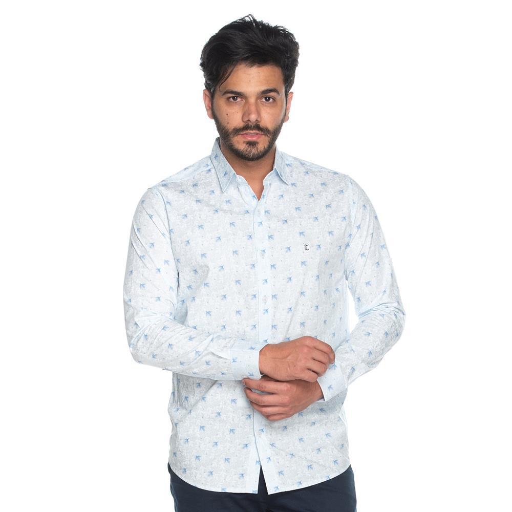 Camisa Social Masculina Teodoro Slim Algodão Floral Casual Azul M