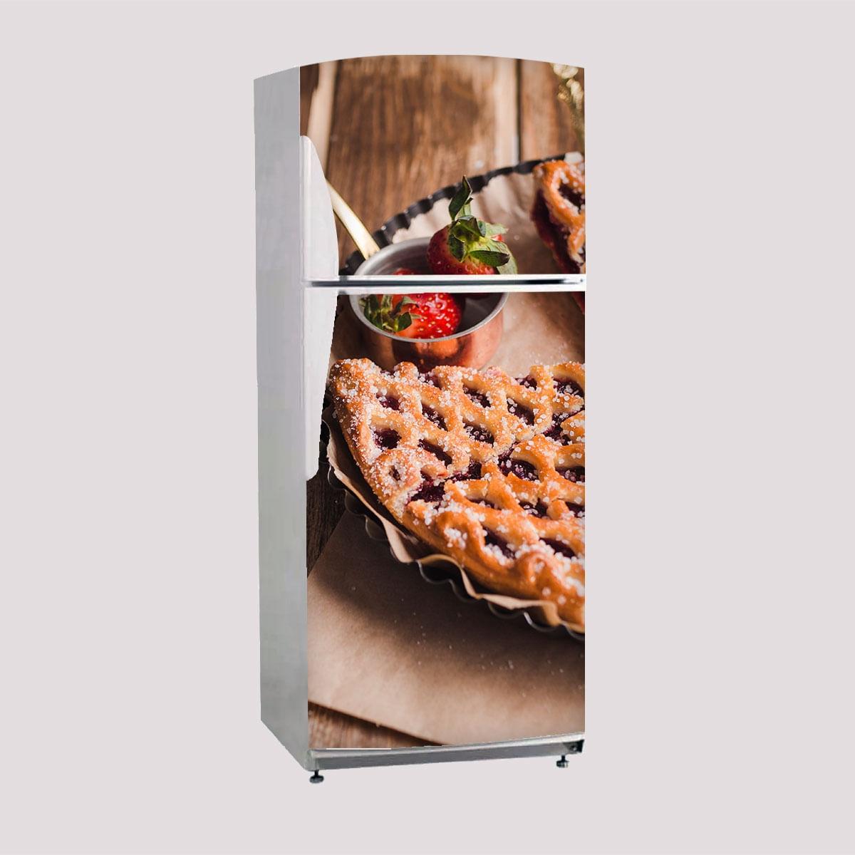 Envelopamento Porta De Geladeira Torta De Morango 02 - Side By Side