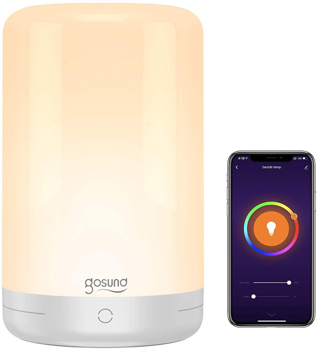 Lâmpada De Mesa Inteligente, Lâmpada De Cabeceira Gosund Wifi Touch Compatível Com Alexa Google Home Para Quartos, Branco Quente Dimmable E Rgb Led Ni