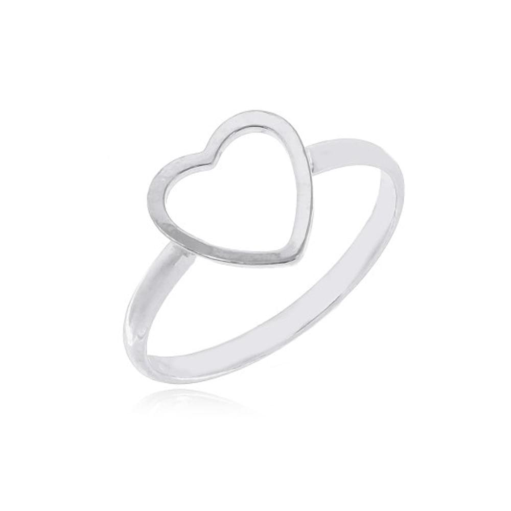 Anel Coração Vazado Feminino Prata 950