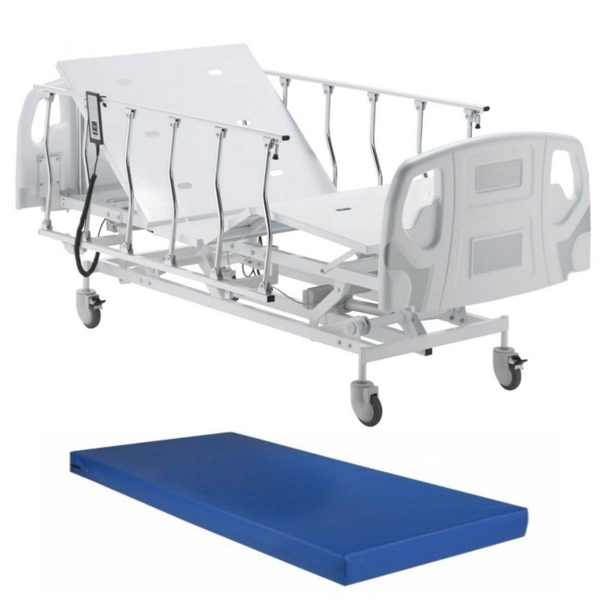 Cama Hospitalar Motorizada Elevação Do Leito Com Colchão E Grades Retráteis