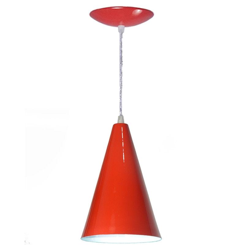 Arandela Pendente Cone Em Alumínio - Cor Vermelho