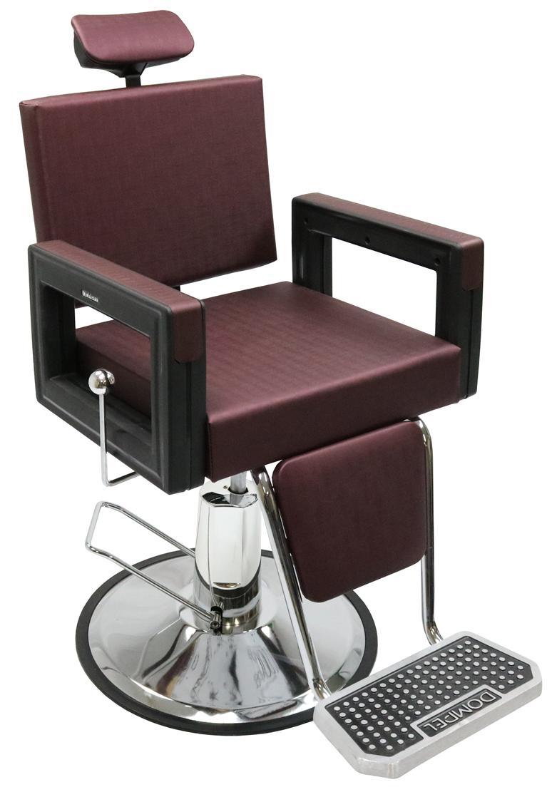 Poltrona Cadeira Reclinável Barbeiro Maquiagem Salão Dompel - Vinho Barber Square