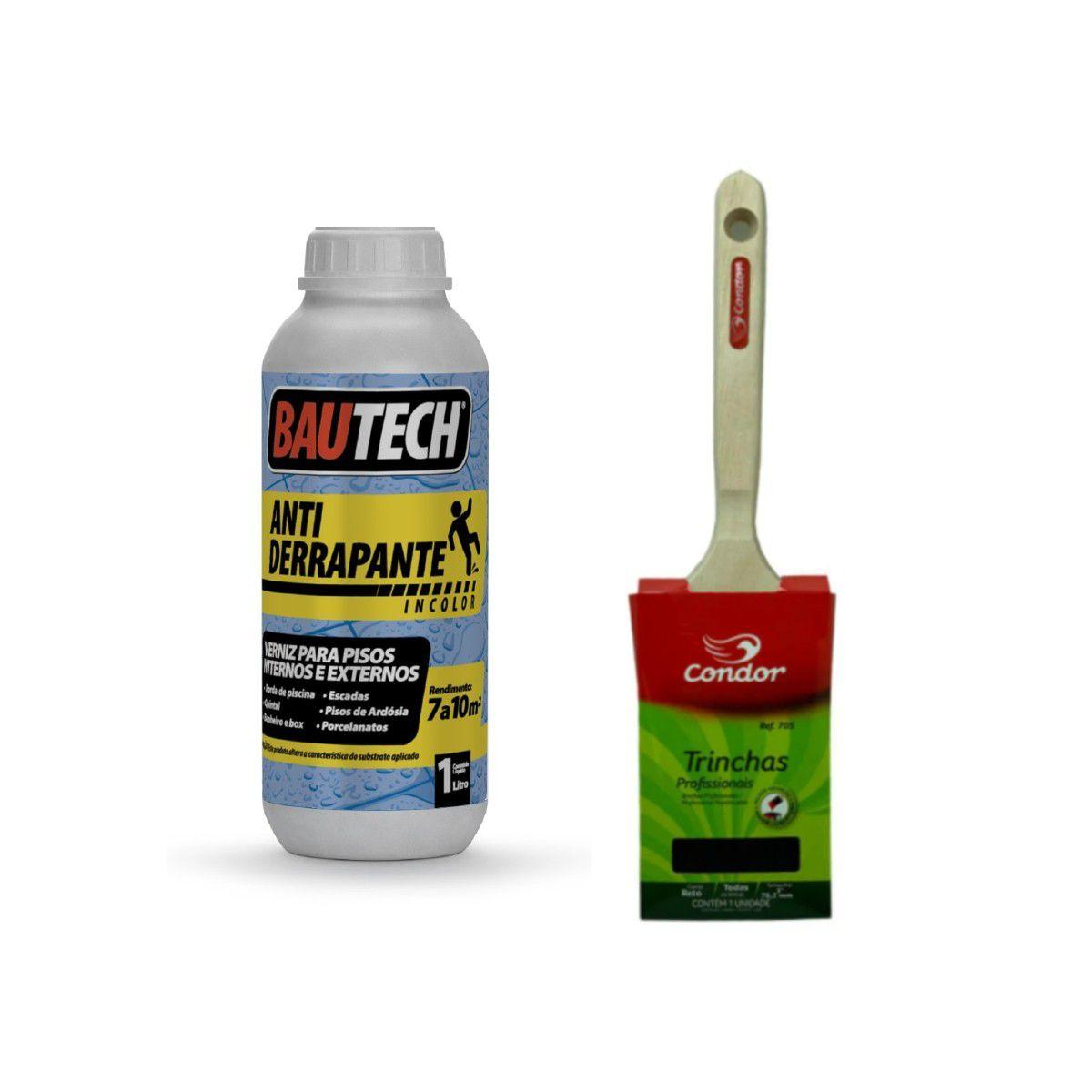 Verniz Antiderrapante Bautech 1L  + Trincha Reta Profissional 3