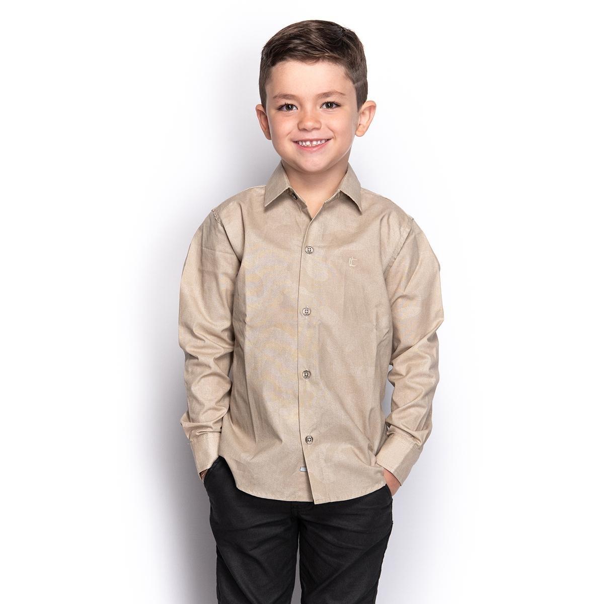 Camisa Social Infantil Menino Manga Longa Camuflada Casual