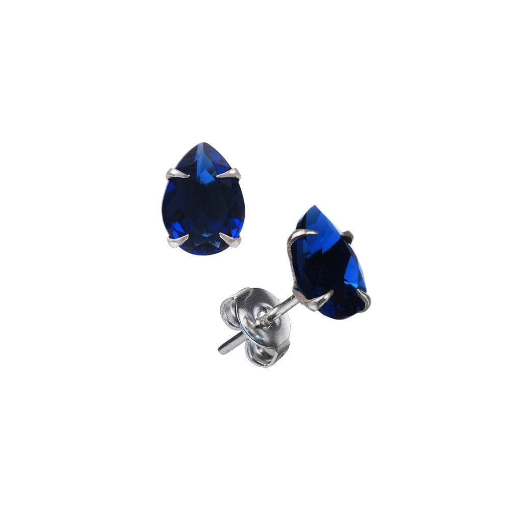 Brinco Com Zircônia Azul Escuro Gota 6X8mm