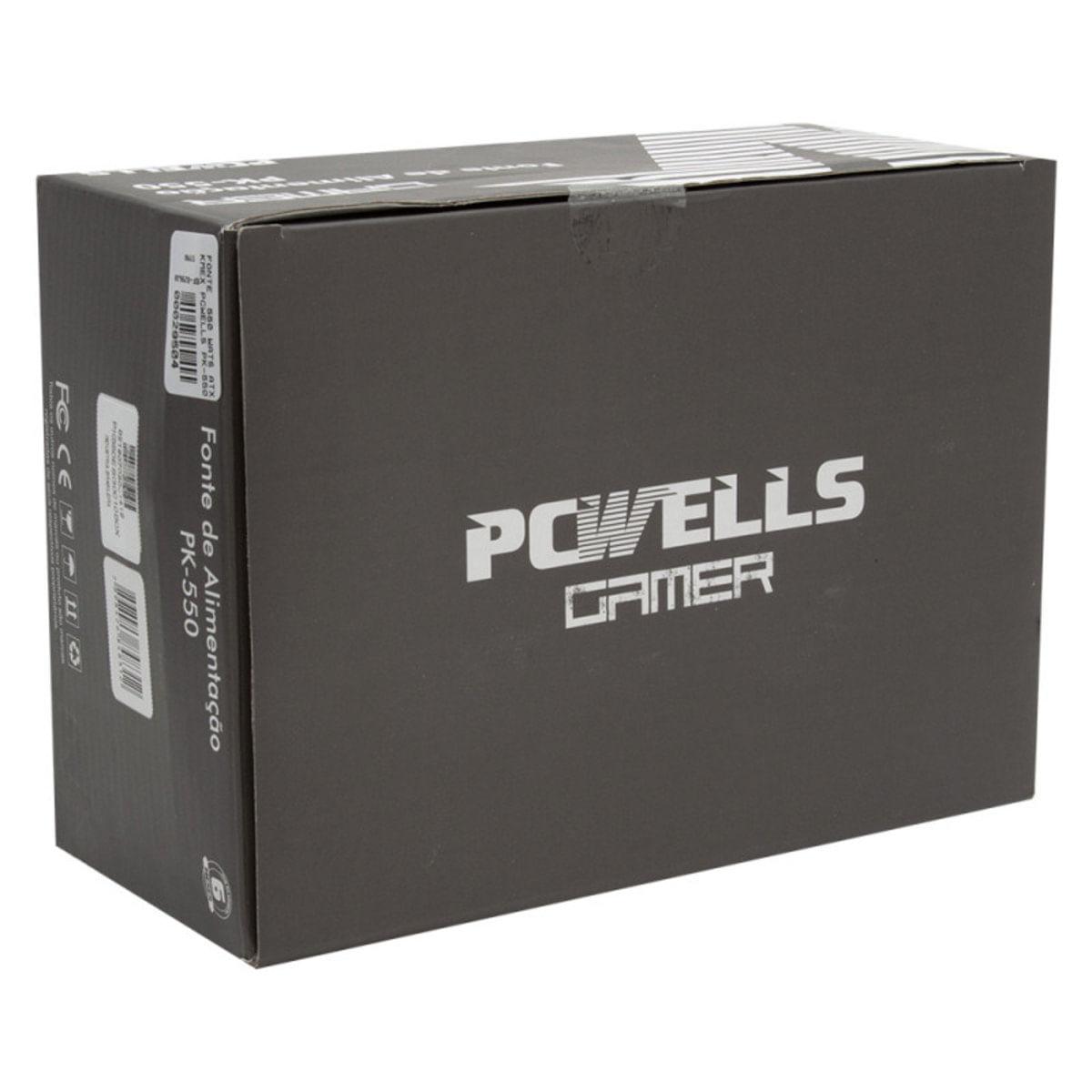 Fonte Atx 500W Reais Pk-550 Pcwells C/ Cabo Box